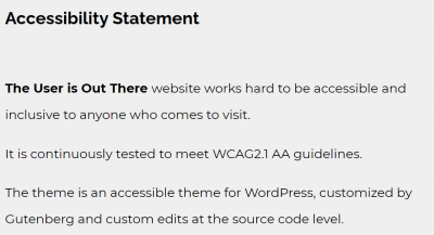 User is Out There Accessibility Statement